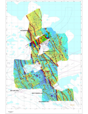 Map 1 - Surface geophysics showing priority drill targets. (CNW Group/Elgin Mining Inc.)