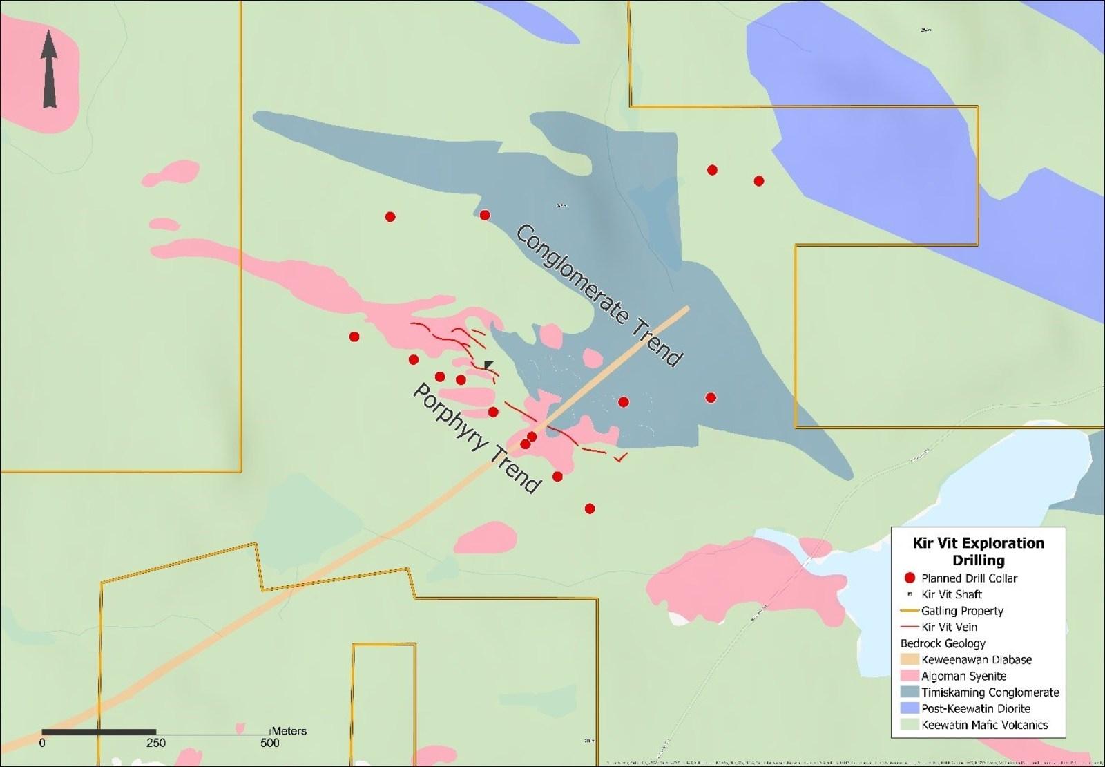 Figure 4. Kir Vit property surface drilling status map showing local geology.
