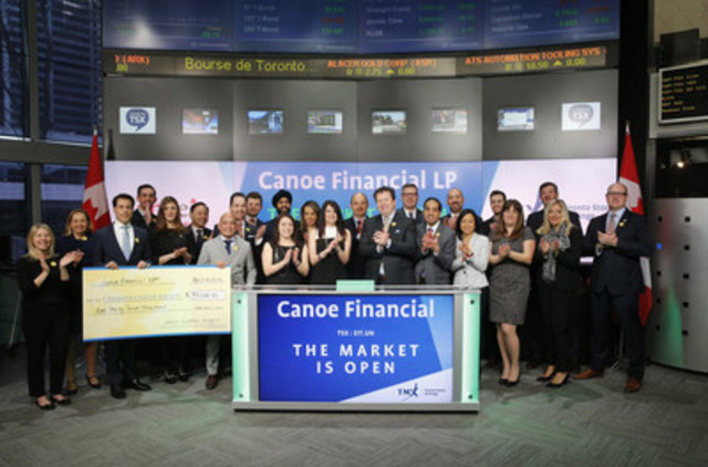 Darcy Hulston, President & CEO, Canoe Financial LP, joined Richard Rohan, VP, Corporate Sales, TMX Equity Transfer Services to open the market. Canoe Financial's EIT Income Fund (EIT.UN) is celebrating 18 years listed on Toronto Stock Exchange. Founded in 2008, Canoe Financial LP established operations with the acquisition of management of Canoe EIT Income Fund. Canoe manages approximately $3.5 billion in assets across a diversified range of open end mutual funds, flow-through limited partnerships, and private energy equity products. The Fund commenced trading on Toronto Stock Exchange on August 6, 1997. For more information please visit www.canoefinancial.com. (CNW Group/TMX Group Limited)