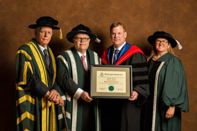 The Honourable John R. Baird, P.C., has received an Honorary Doctorate of Sacred Letters from Huntington University.  The degree was conferred at Huntington University's Spring Convocation, held March 23, 2016 in Greater Sudbury.  (L to R - Dr. Edward J. Conroy (Huntington University Chancellor) Dr. Kevin McCormick (Huntington University President & Vice-Chancellor), Dr. John R. Baird, Ms. Mary-Liz Warwick (Huntington University Board Chair) (CNW Group/Huntington University)
