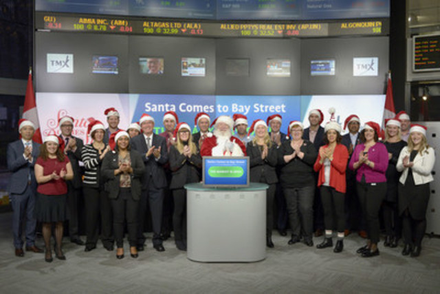 "Co-Founders of Santa Comes to Bay Street (SCTBS), Mary Matthews and Stephanie Orloff, along with Santa Claus joined Suzanne Peters, Director, Business Communications & Strategic Programs, TMX Group to open the market to raise awareness of SCTBS' ""Santa's Workshop."" event.  During the 12th annual Workshop volunteers will fill nearly 1800 gift bags with winter necessities and holiday gifts for women and children in Toronto shelters and outreach programs. ""Santa's Workshop"" gift bagging event will take place on November 23 at the Design Exchange. For more information please visit www.sctbs.ca  (CNW Group/TMX Group Limited)"