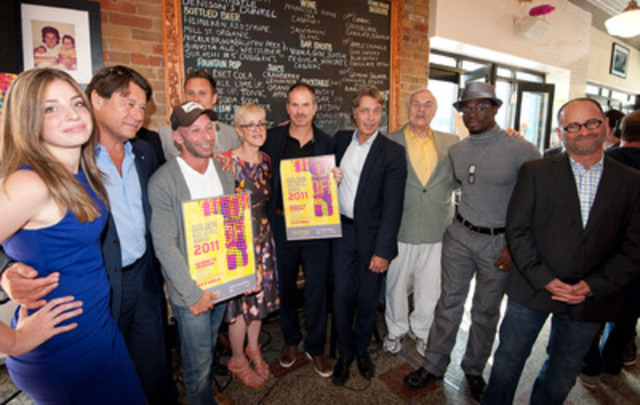 From left to right: Anna Hopkins, Robert Lantos (Serendipity Point Films), Michael Konyves, Ari Lantos, Carolle Brabant (Telefilm Canada), Richard J. Lewis, Michel Pradier (Telefilm Canada), Howard Jerome, Clé Bennett and Bryan Gliserman (Entertainment One). (CNW Group/TELEFILM CANADA)