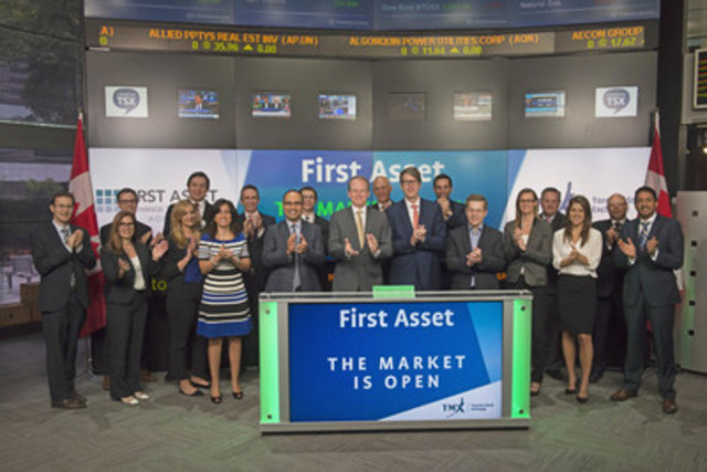 Barry Gordon, President and Chief Executive Officer, First Asset, a CI Financial Company, joined Dani Lipkin, Head, Business Development, Exchange Traded Funds, Closed-End Funds, and Structured Notes, TMX Group to open the market to celebrate the launch of three new actively managed Exchange Traded Funds (ETFs): First Asset Global Financial Sector ETF (FSF); First Asset Preferred Share ETF (FPR); and First Asset Long Duration Fixed Income ETF (FLB). Signature Global Asset Management, an affiliate of First Asset and a division of CI Investments Inc., is the Portfolio Manager for these funds. Signature is an in-house portfolio management group that manages over $50 billion in core equity, balanced and income oriented funds. First Asset is an established ETF provider in Canada offering a suite of over 39 ETFs covering all major developed markets and most asset classes. FSF commenced trading on Toronto Stock Exchange on April 25, 2016; FPR, and FLB on May 17, 2016. (CNW Group/TMX Group Limited)