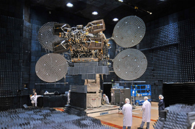 New 4G Broadband Satellite EchoStar XVII, which will be used by Xplornet to provide high-speed Internet to rural Canada, during construction and testing. (CNW Group/Xplornet Communications Inc.)