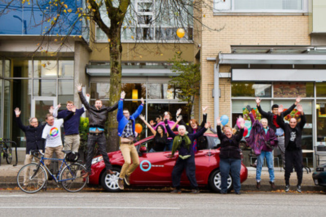 A moment 16 years in the making. Modo staff and board members celebrate with District Main staff the car co-op's 300th vehicle out front of its new home, at the District Main property (4453 Main Street, Vancouver). (CNW Group/Modo The Car Co-op)