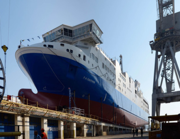 This dual-fuel ferry vessel is the first of its kind worldwide, having the LNG tanks protected under the main deck. Our design team with Lloyd's had to define new regulation during the design process. This innovation has allowed for improved stability and less vulnerability aiming at risk mitigation. (CNW Group/Navtech Inc.)