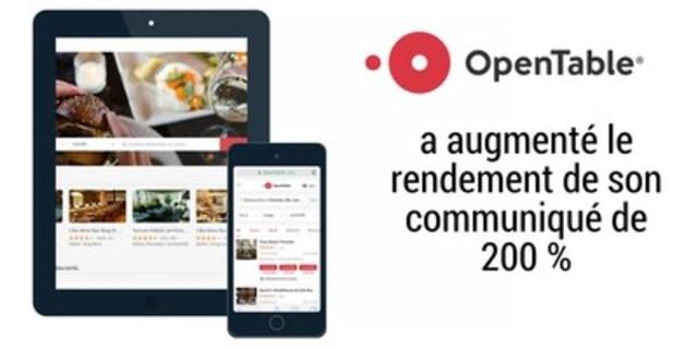 OpenTable a augmenté le rendement de son communiqué de 200 % (Groupe CNW/Groupe CNW Ltée)