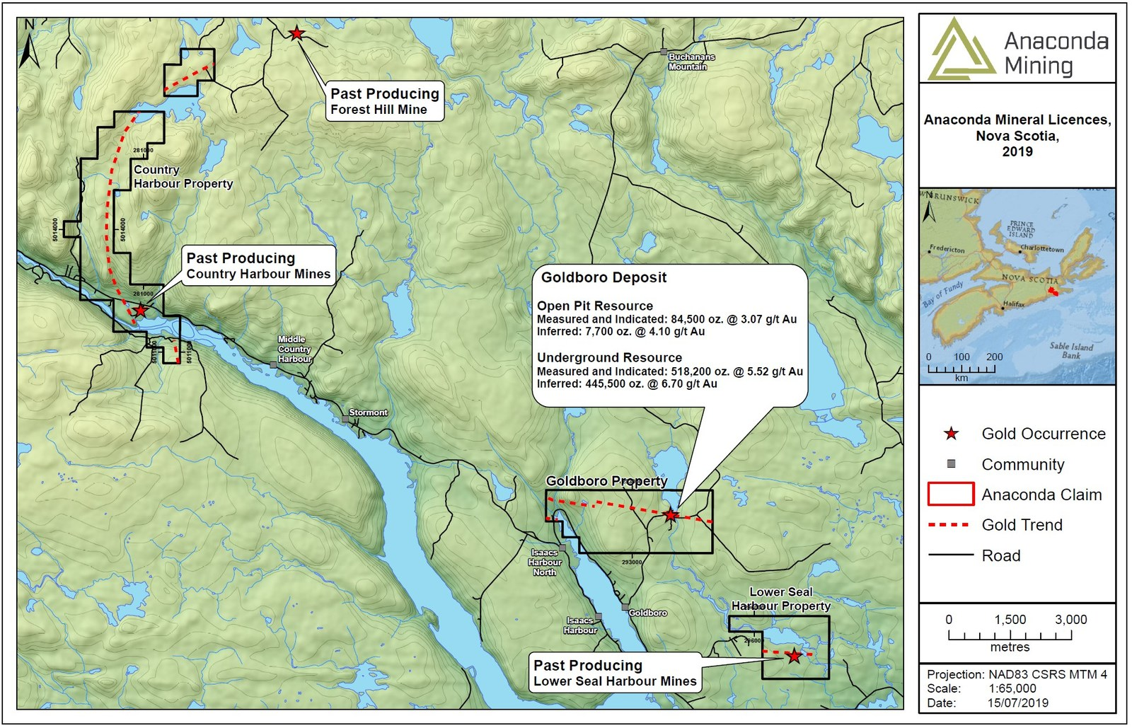 """Exhibit A. A map of South Eastern Nova Scotia showing the location of the Goldboro Project and the recently acquired Country Harbour and Lower Seal Harbour properties. The mineral resource for the Goldboro Deposit is taken from the technical report titled """"GOLDBORO PROJECT, MINERAL RESOURCE UPDATE AND PRELIMINARY ECONOMIC ASSESSMENT - GUYSBOROUGH COUNTY, NOVA SCOTIA"""", with an effective date of December 10, 2018 and a Mineral Resource effective date of July 19, 2018"""