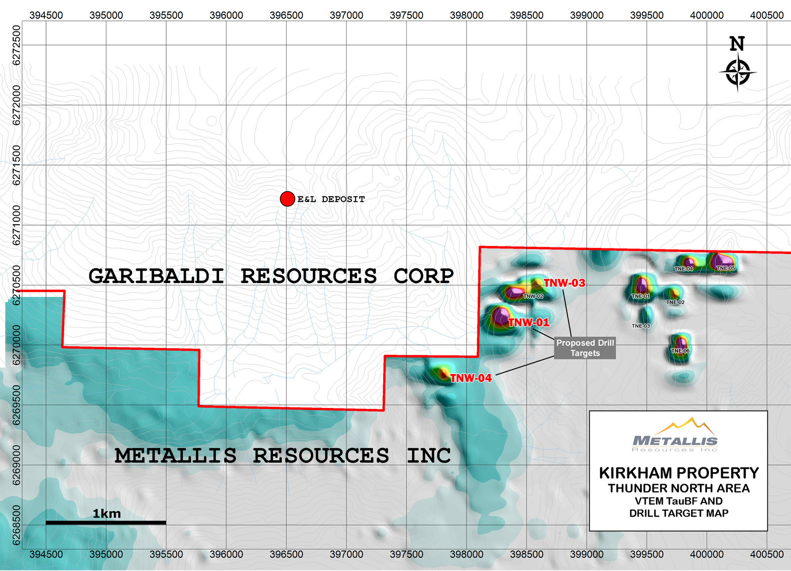 Metallis Resources Inc Kirkham Property  Thunder North Area  VTEM TauBF and Drill Target Map