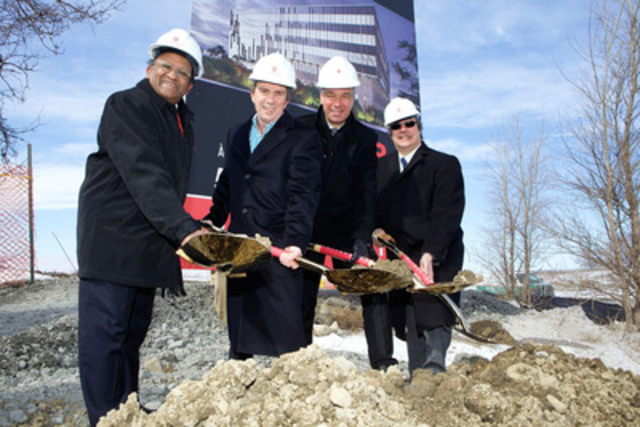 Mr. Alan DeSousa, Mayor of Saint-Laurent, Mr. Roger Plamondon , Senior Vice President, Real Estate Development and Acquisitions of Broccolini, Mr. Gerry Stefanatos, Corporate Vice President and President, Canada, Australia, and New Zealand, Hospira and Mr. Mario Monette, President and CEO of Technoparc Montréal attended the ground breaking ceremony of the Broccolini Corporate Center Saint-Laurent 2. Photo : CNW/Michel Pinault (CNW Group/Broccolini)