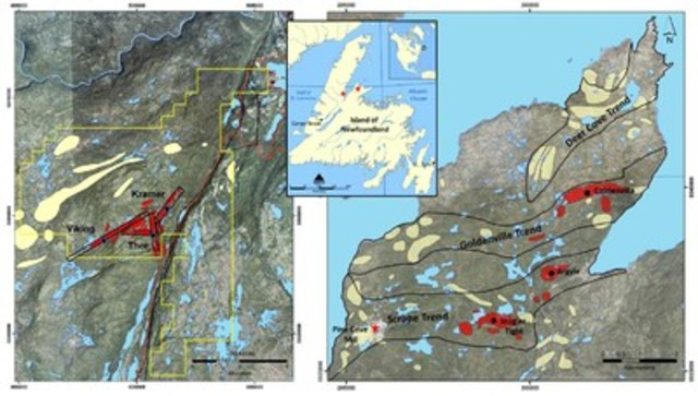 Exhibit A:  Two maps showing the Viking (left) and Point Rousse (right) projects and the target areas (shown in red) indicated within this press release. (CNW Group/Anaconda Mining Inc.)