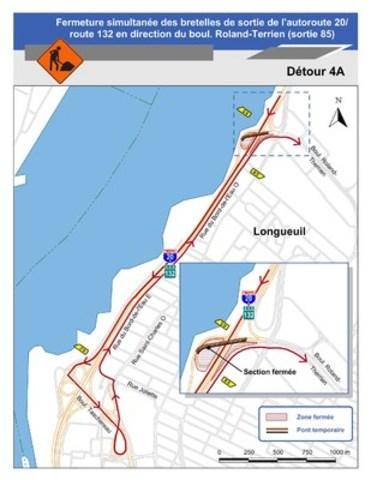 Détour 4A : Fermeture simultanée des bretelles de sortie de l'autoroute 20/route 132 en direction du boul. Roland-Therrien (sortie 85) (Groupe CNW/Ministère des Transports)