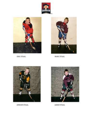 Staal Brothers as children Top: Eric. Bottom Left to Right: Marc, Jared, Jordan (CNW Group/Quaker Foods Canada)