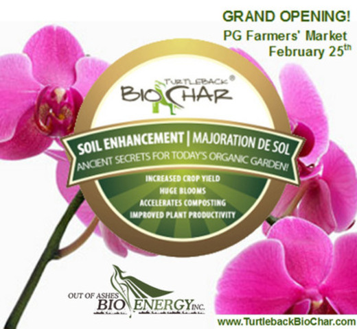 On February 25th, come see us at the Market or sign-up for our newsletter online. This enters you for a chance to win a bag of biochar. Learn all about biochar and how it will transform the way you garden. Also, find out about our volunteer program Biochar Mission: Mexico. (CNW Group/Out of Ashes BioEnergy Inc.)
