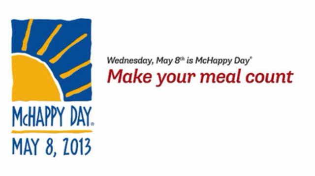 Video: Celebrate the 20th McHappy Day today at McDonald's (Wednesday, May 8th), and $1 from every Big Mac®, Happy Meal®, and hot McCafé® beverage sold will be donated to Ronald McDonald Houses and other children's charities across Canada.