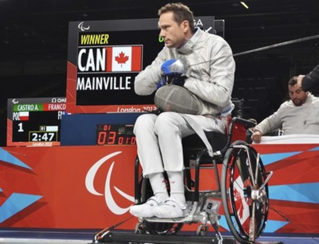 Le 6 juillet 2016, OTTAWA –- La Fédération canadienne d''escrime et le Comité paralympique canadien ont annoncé, aujourd''hui, que l''escrimeur en fauteuil roulant Pierre Mainville, de St-Colomban, au Québec, a été mis en nomination pour la sélection dans Équipe Canada pour les Jeux paralympiques de Rio 2016 en septembre. Photo: Daniel Marcotte / Comité paralympique canadien (Groupe CNW/Comité paralympique canadien (CPC))