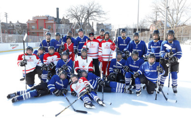 Bauer Hockey announces $500,000 equipment donation over five years to Canadian Tire Jumpstart Charities to get children across Canada, including kids from Toronto's Scadding Court Community Centre, outfitted and into hockey. Bauer's Darryl Hughes, Jumpstart's Landon French and Scadding Court's Kevin Lee celebrated the occasion with the community. (CNW Group/Canadian Tire Jumpstart)