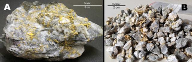 Figure 1 : A) Spécimen de la zone HOF, B) Une partie du lot de 148 kg de minerai sélectionné dans la zone HOF concassé à < 12 mm. (Groupe CNW/Corporation Royal Nickel)