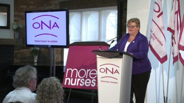 Ontario Nurses' Association President Linda Haslam-Stroud, RN, launched a new ad campaign today to advocate for better, safer patient care for the province. The More Nurses campaign is on air now across the province with TV ads and includes a website -- www.morenurses.ca -- to enable Ontarians to send nurses a message and send a message to their MPP to call for more RNs. (CNW Group/Ontario Nurses' Association)