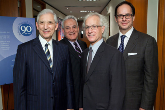 (l to r) Barry H. Shapiro and Charles E. Flam of the Robinson Sheppard Shapiro (RSS) law firm were joined by the Deans of the Law Faculties, Gilles Trudeau of Université de Montréal and Daniel Jutras of McGill University, for the acceptance of the donation (CNW Group/Robinson Sheppard Shapiro)