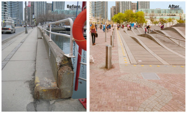 On the left: Before - A view of the narrow pedestrian area at the Simcoe Slip in 2008. On the right: After - A view of the Simcoe WaveDeck, which opened in 2009, and the new widened granite promenade, fully open as of June 19. (CNW Group/Waterfront Toronto)