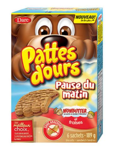 Les nouvelles Pattes d'ours Pause du matin Wowbutter(MD) et fraises goûtent le beurre d'arachides mais n'en contiennent pas (Groupe CNW/Aliments Dare Limitée)