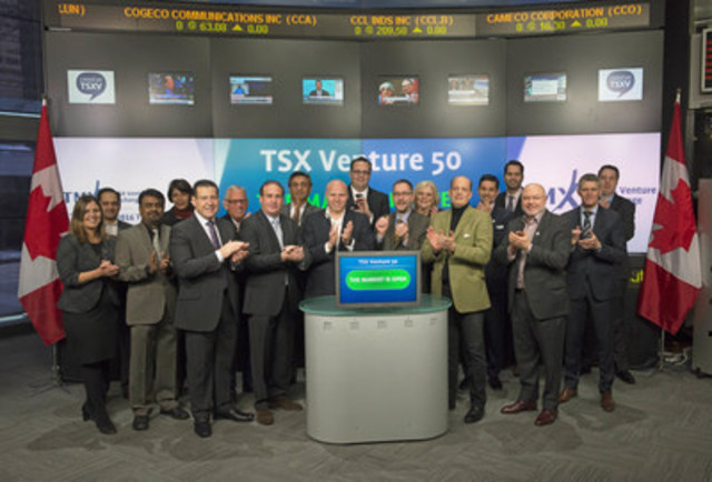 The 2016 TSX Venture 50 companies joined Tim Babcock, Director, Listed Issuer Services, TSX Venture Exchange to open the market. The TSX Venture 50 is an annual ranking of top performing companies from five sectors: Clean Technology & Life Sciences, Diversified Industries, Mining, Oil & Gas, and Technology. The 2016 TSX Venture 50 was determined based on equal weighting of the following measures: market capitalization growth, share price appreciation and trading volume. Learn more about these companies and view their 60 second videos by clicking here: www.tmxmoney.com/en/investor_tools/tsxventure50 (CNW Group/TMX Group Limited)