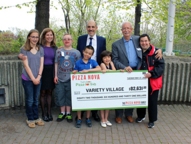 Pizza Nova President Domenic Primucci (centre) and Founder Sam Primucci (right) present the cheque to Lynda Elmy (left) of The Variety Village Children's Charity (CNW Group/Pizza Nova)