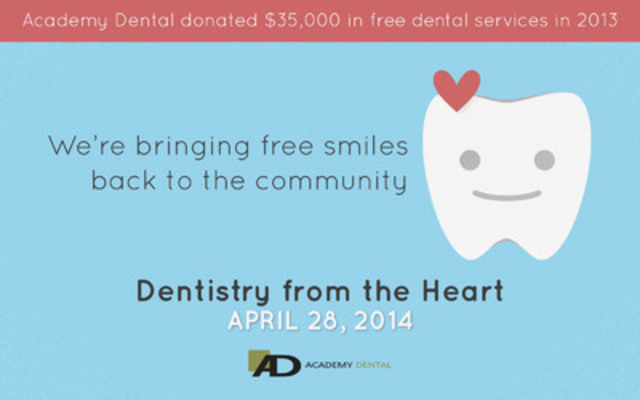 Academy Dental is helping the community smile again through a special free dental care event. Adults & children welcome. First come, first served for a free filling, extraction or cleaning. (CNW Group/Academy Dental)