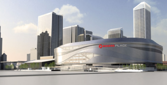 A glimpse of the future Rogers Place arena in Edmonton, Alberta; set to open its doors for the 2016 NHL season. (CNW Group/Rogers Communications Inc.)