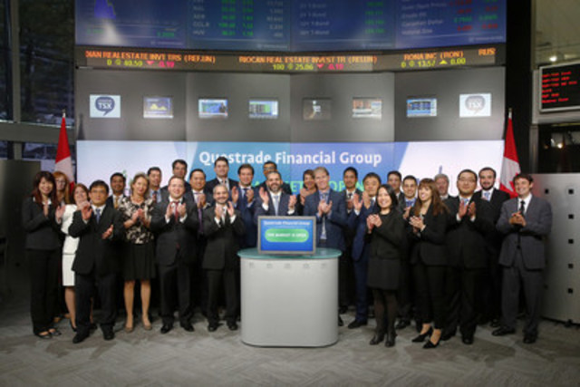 Edward Kholodenko, President and CEO, Questrade Financial Group joined Amelia Nedovich, Head, Business Development, Exchange Traded Funds and Structured Products, TMX Group open the market to launch two new funds: Questrade Fixed Income Core Plus ETF (QCP) and  Questrade Global Total Equity ETF (QGE). Questrade Wealth Management Inc. manages and administers Questrade ETFs and provides professional investment management services through Portfolio IQ. Questrade Wealth Management is an investment fund manager and portfolio manager. As of August 31, 2015, Questrade had six ETFs listed on Toronto Stock Exchange with a total market capitalization of $19 million. QCP and QGE commenced trading on Toronto Stock Exchange on September 25, 2015. For more information please visit www.questrade.com.   (CNW Group/TMX Group Limited)
