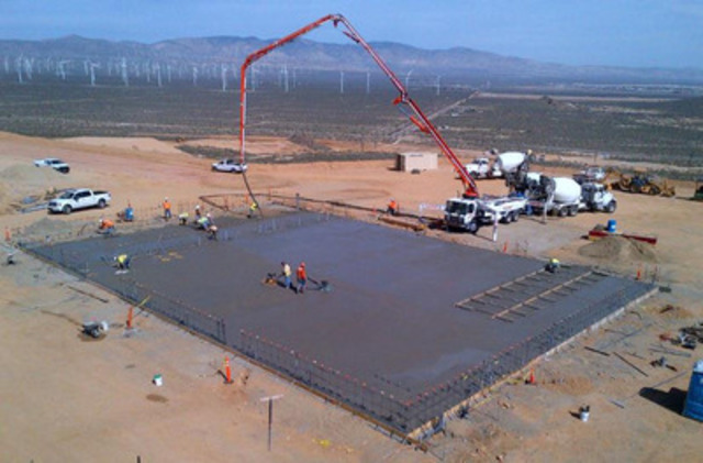 Photograph 1 - Concrete pouring near completion at warehouse area (CNW Group/Golden Queen Mining Co. Ltd.)