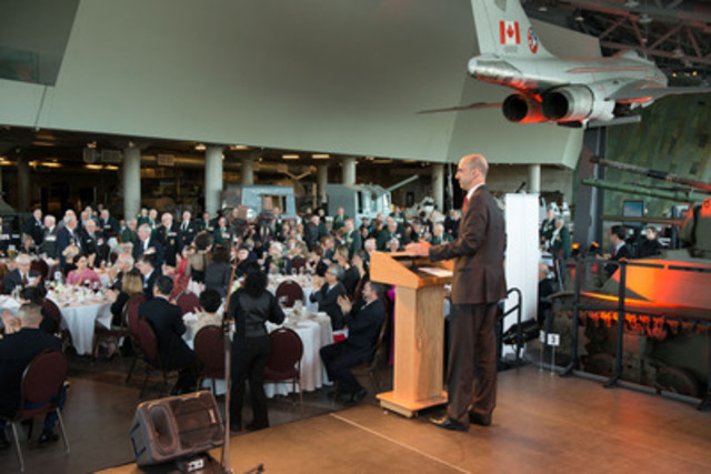 Minister of Veterans Affairs Steven Blaney recognizes the Korean War Veterans at the opening gala dinner for a weekend of commemorative activities in their honour. (CNW Group/Veterans Affairs Canada)