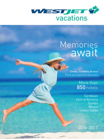 NEW! WestJet Vacations Print Brochure Front Cover (CNW Group/WestJet)