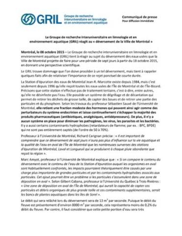 Annexe 3 : Communiqués des experts du GRIL (Groupe CNW/Ville de Montréal - Cabinet du maire et du comité exécutif)