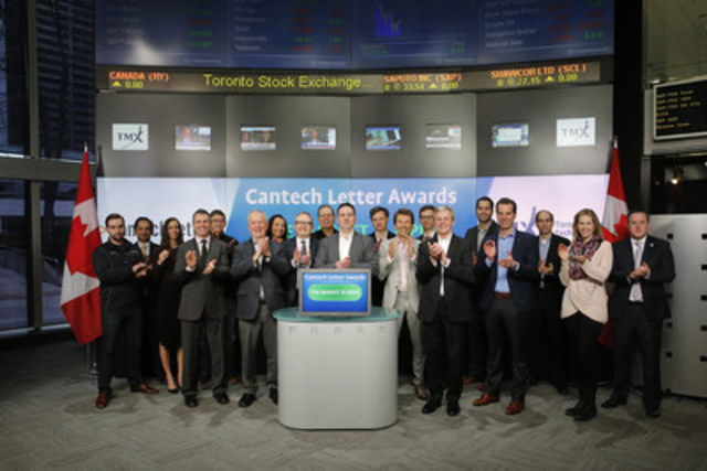 Winners of the 2015 Cantech Letter Awards and Nick Waddell, Founding Editor of Cantech Letter joined Michael Kousaie, Head, Business Development, Technology & Clean Technology Toronto Stock Exchange and TSX Venture Exchange to open the market to celebrate the sixth annual awards. Founded in 2008, Cantech Letter is an online magazine focused on companies listed on Toronto Stock Exchange and TSX Venture Technology, Cleantech and Life Sciences Sectors. The Cantech Letter awards recognize excellence in Canadian technology stocks. The awards gala took place on January 26 at the Toronto Convention Centre. (CNW Group/TMX Group Limited)