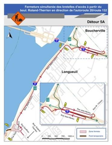Pour le détour 5A : Carte illustrant le détour 5A pour la fermeture simultanée des bretelles d'accès à partir du boul. Roland-Therrien en direction de l'autoroute 20 / route 132. (Groupe CNW/Ministère des Transports)