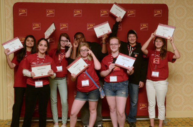 A group of Ontario grade 10 students celebrate winning 2013 CIBC Youthvision Scholarships at a youth forum in Toronto - L to R: Sidra Khan, Melan Mustafa, Caitlyn Lyver, Darlene Lyon, Denzel Innis, Rayna Critchley, Braydon Middaugh and Shania Reed. The scholarship program is celebrating its 15th year and over 450 lives changed since 1999. (CNW Group/CIBC)