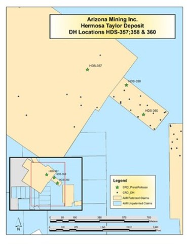Drill Location Map - Hermosa Taylor Deposit, DH Locations HDS-357, 358 & 360 (CNW Group/Arizona Mining Inc.)