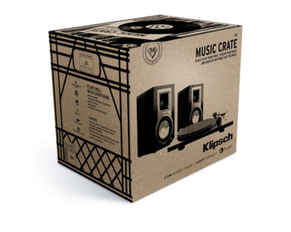 """The Klipsch Music Crate™ includes everything a music lover needs to be setup and listening to vinyl in under 5 minutes, even the cables. The crate includes Klipsch's R-15PM Powered Monitors featuring an integrated phono pre-amp, Bluetooth, digital optical, analog RCA and USB inputs. (CNW Group/Klipsch Audio Canada)"