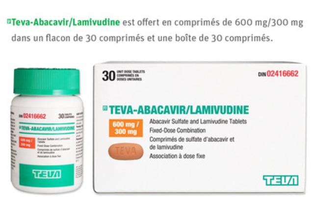 (Pr)Teva-Abacavir/Lamivudine est offert en comprimés de 600 mg/300 mg dans un flacon de 30 comprimés et une boîte de 30 comprimés. (Groupe CNW/Teva Canada Limitée)
