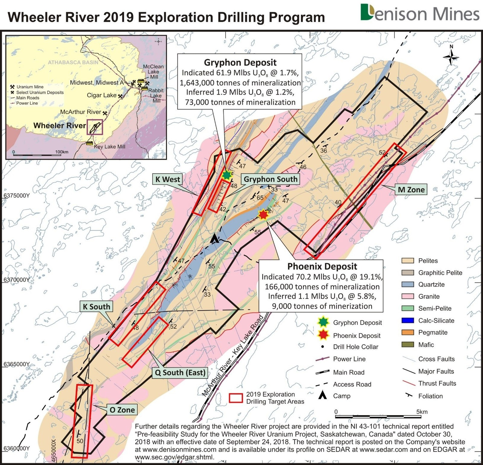 Figure 2: Location of the high priority regional target areas planned for exploration drill testing in 2019, shown on the Wheeler River basement geology map.