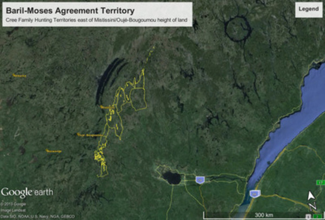 Territoire sous l'Accord Baril-Moses (Groupe CNW/Grand Conseil des Cris (Eeyou Istchee))
