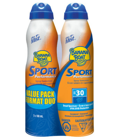 Banana Boat Sport Performance SPF 30 Spray Sunscreen TWIN PACK 2 x 180ml (79656 04398 3) (CNW Group/Energizer Canada)