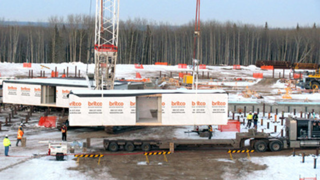 Britco installs the first of 480 modules for a large energy company in Northern Alberta. The modules, which are currently being manufactured in Britco's Agassiz and Penticton plants, consist of 200 square foot executive style accommodations for 880 employees, featuring private washrooms, flat screen TV's and high-end hotel quality finishes. (CNW Group/WesternOne Equity Income Fund)