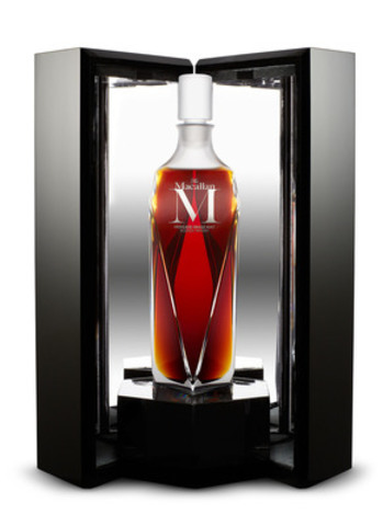 The Macallan M decanter and its packaging. The Macallan M is a partnership between three masters: The Macallan, renowned creative director Fabien Baron and crystal masters Lalique. (CNW Group/BEAM Global Canada Inc.)