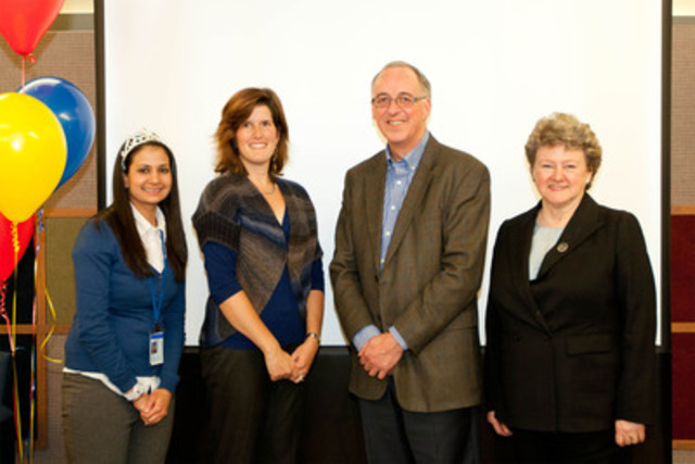 From left to right: Mehreen Khan (GE's 500th Intern), Stephanie Bangarth (1st Intern), Terry Peach Manager Human Resources GE Canada, and Anne Lamont, President & CEO at Career Edge Organization (CNW Group/General Electric Canada Inc.)