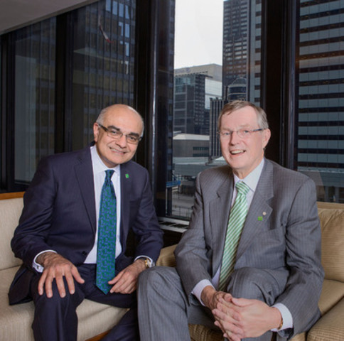 TD's Present and Future CEOs Bharat Masrani (left) will succeed Ed Clark (right) as Group President and CEO of TD Bank Group in November 2014. (CNW Group/TD Bank Group)