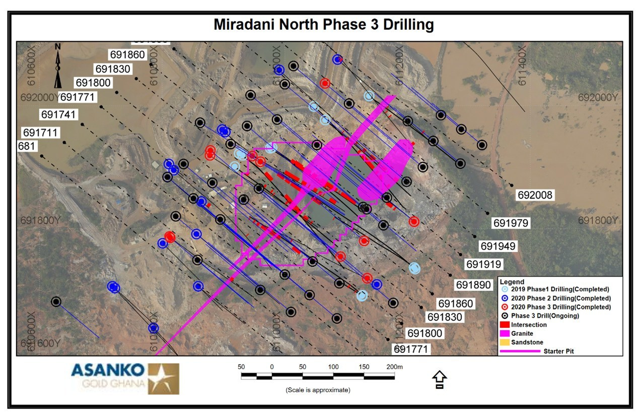Figure 2.  Plan view of geology and Phase 3 drilling currently in progress. (CNW Group/Galiano Gold Inc.)