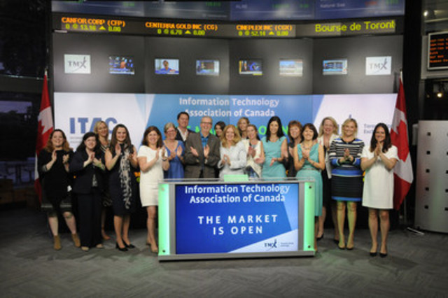 Robert Watson, Chief Executive Officer, Information Technology Association of Canada, (ITAC), joined Tanya Rowntree, Vice-President, Regional Sales, TSX Trust Company, to open the market to celebrate the launch of the ITAC Women on Boards Registry. The Women on Boards Registry provides access to ITAC member companies, as well as Canadian corporations requiring technology expertise and diversity on their Board of Directors.  For more information, please visit www.itac.ca. (CNW Group/TMX Group Limited)